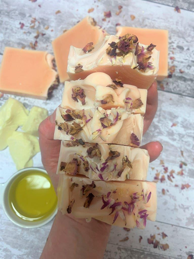 Rose Geranium Handmade Soap with Dried Rose Petals in Plastic Free Packaging Laid Flat