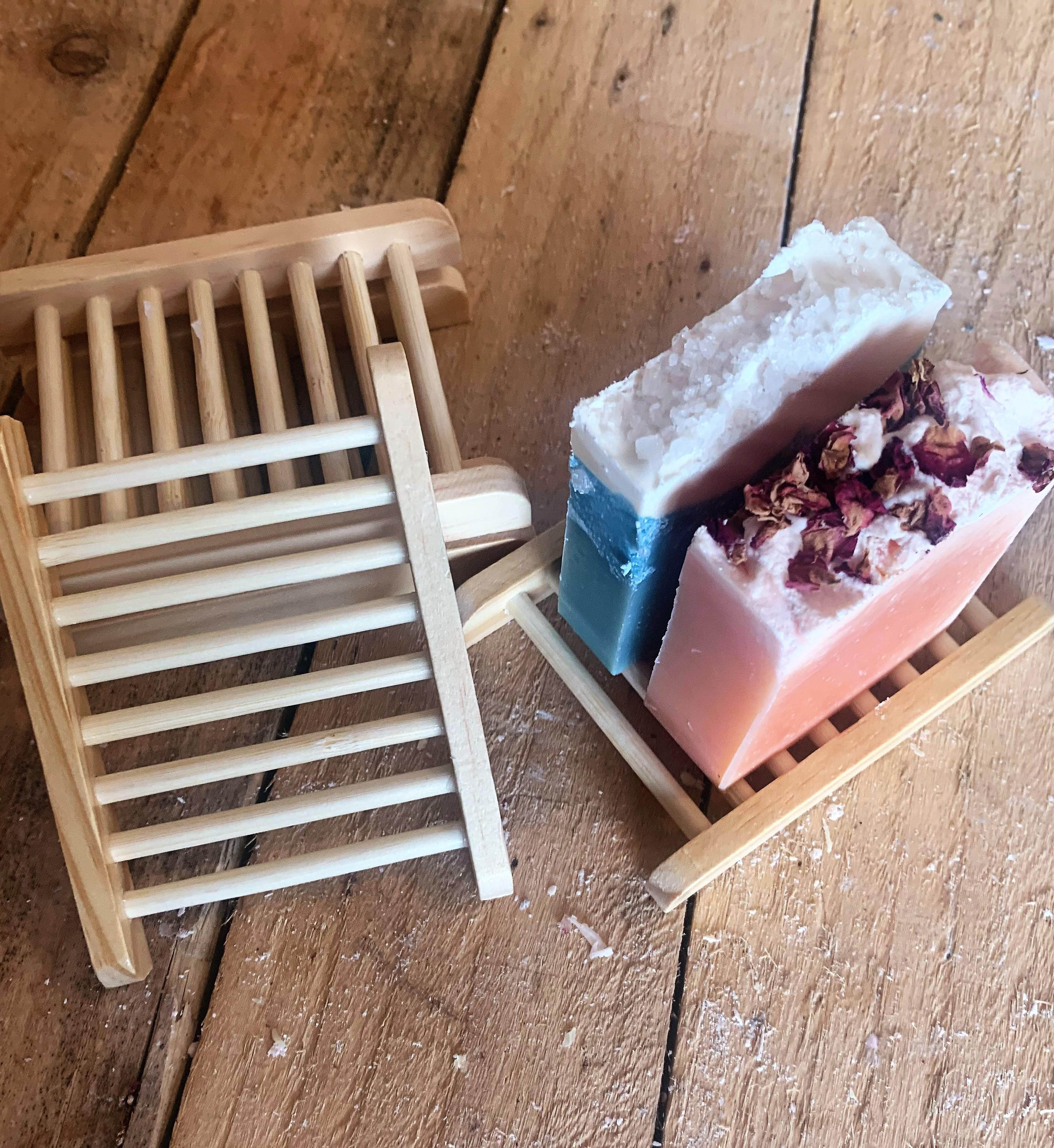 Bamboo Soap Rack with Vegan Soaps