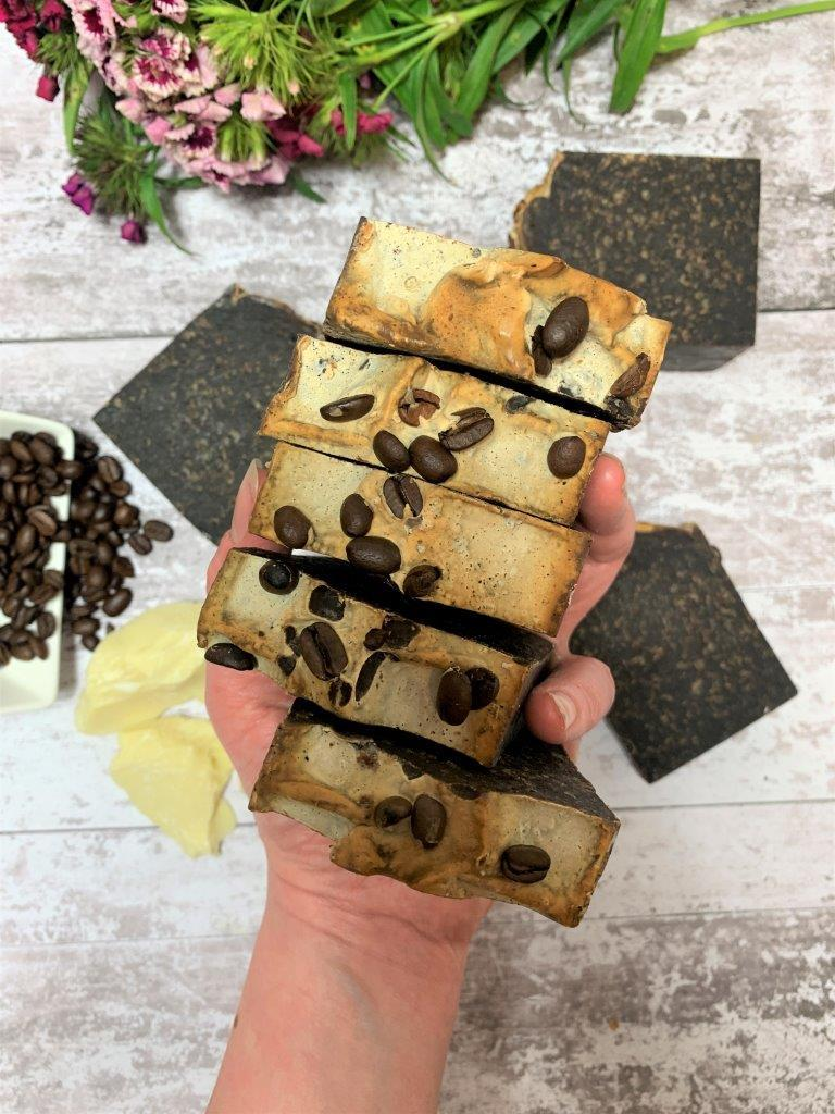 Coffee And Cacao Handmade Soap in Plastic Free Packaging Laid Flat