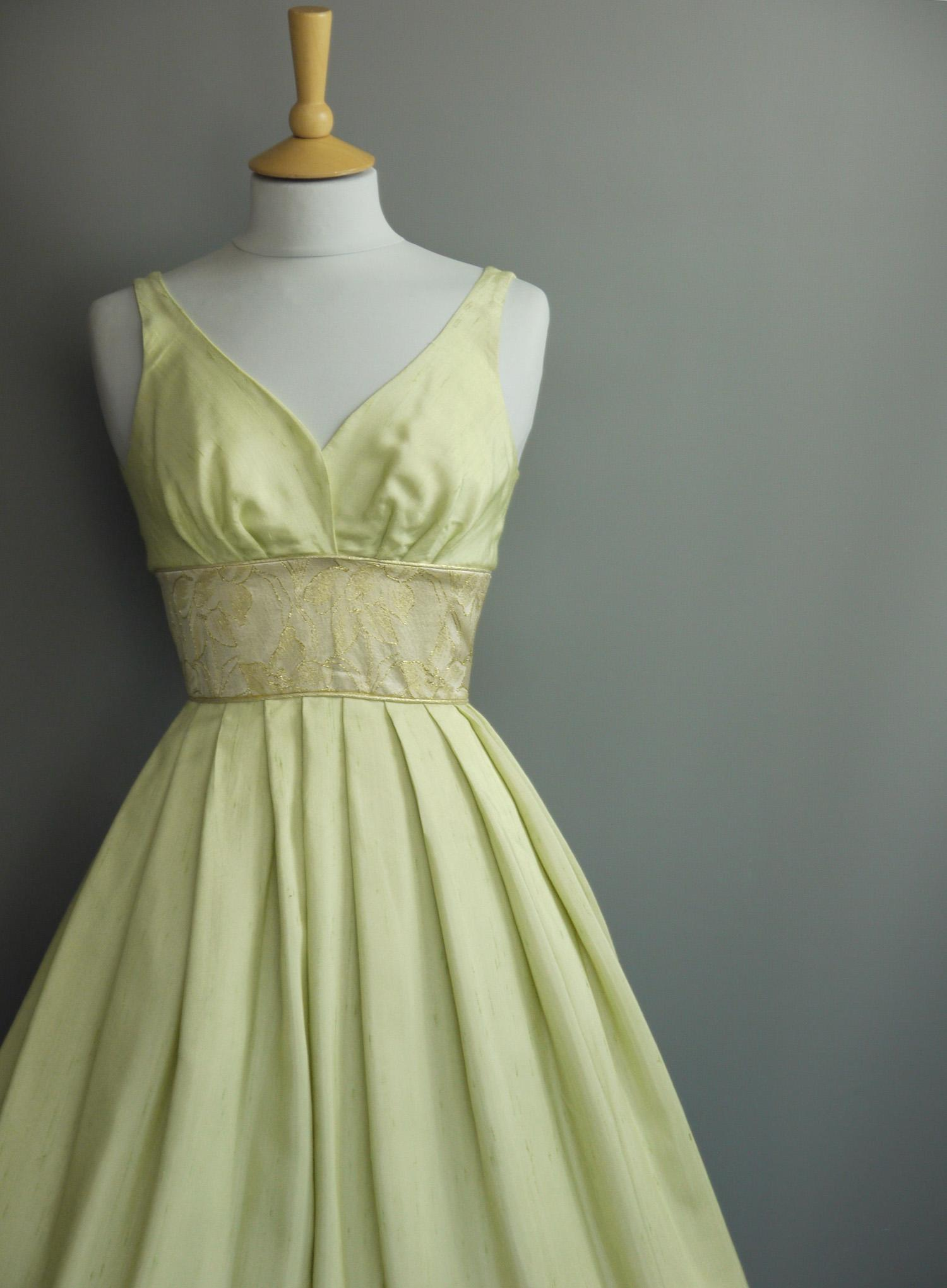 Emerald Taffeta Party Dress with Cap Sleeves and Silver Piping Made by Dig For Victory