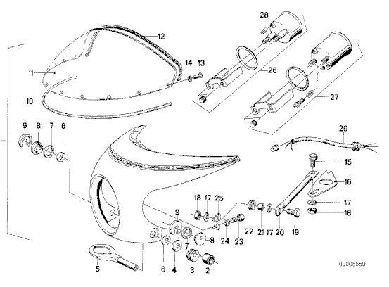 BMW R90S cockpit fairing - parts diagram