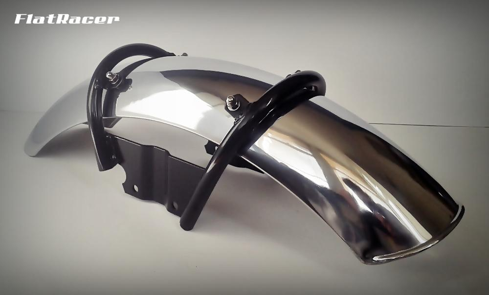 "FlatRacer BMW /6 & early /7 Series (74-80) fork brace kit w/ short 5"" stainless steel front mudguard"