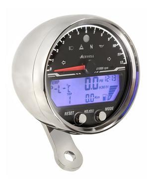 Acewell 85mm billet alloy electronic speedometer / tachometer - CHROME