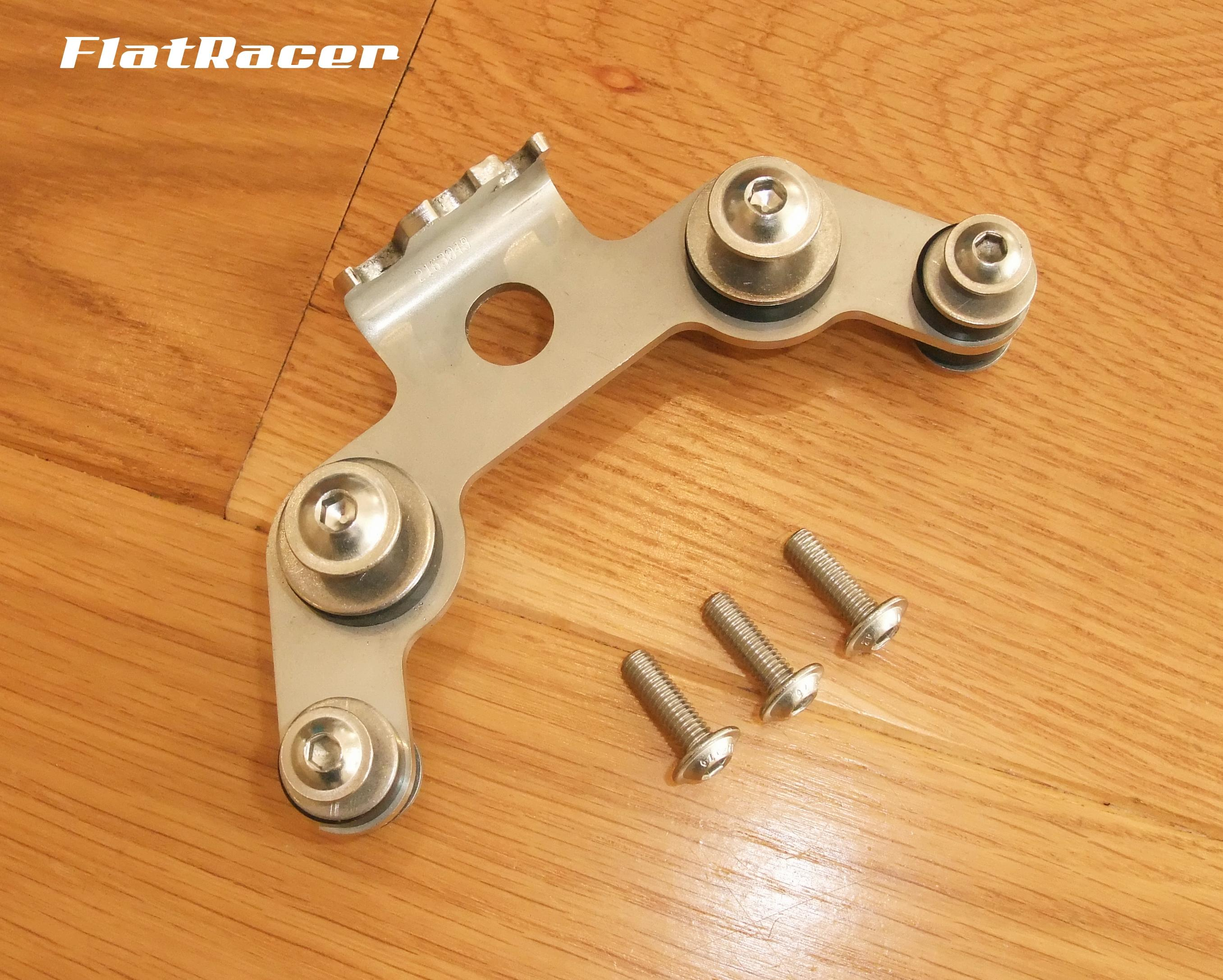 FlatRacer BMW Airhead Boxer stainless steel ultra-low instrument cluster bracket - with fittings