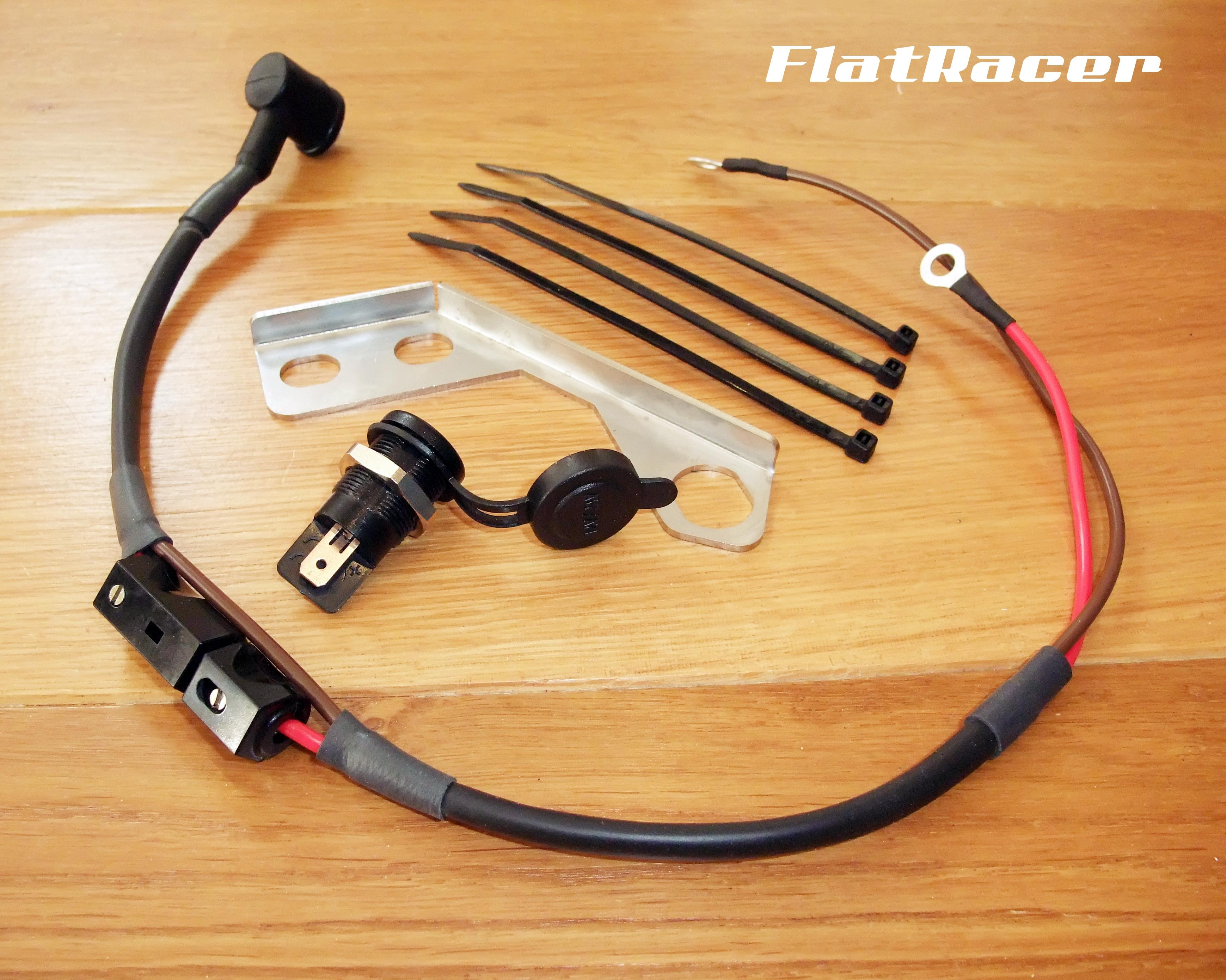 FlatRacer BMW Airhead Boxer (70-84) DIN 12v auxiliary power socket kit