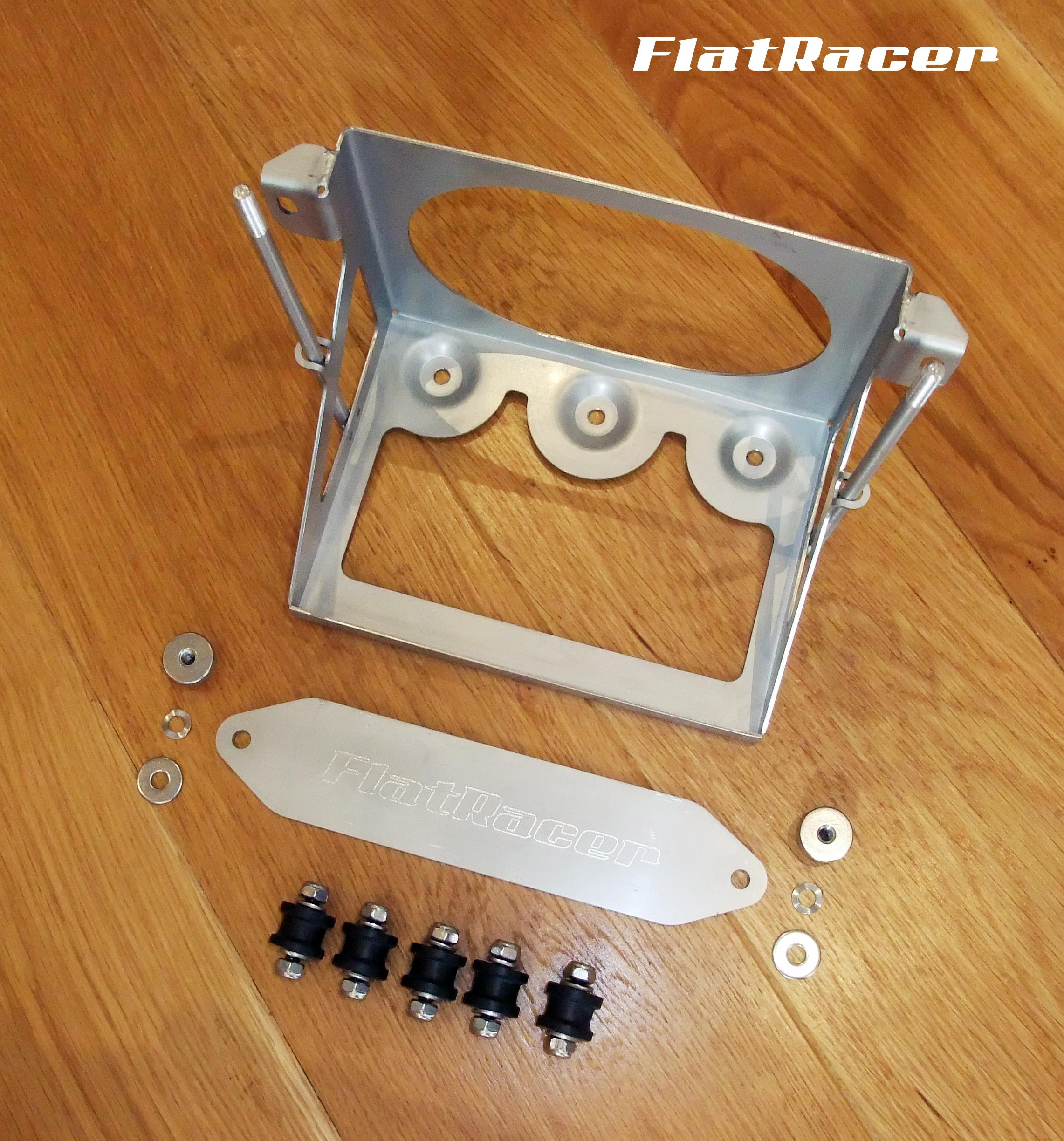 FlatRacer BMW /6 & /7 Series (73-84) standard stainless steel battery tray - with 5 x M6 rubber bobbins