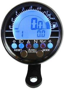Acewell 70mm billet alloy electronic speedometer / tachometer - BLACK