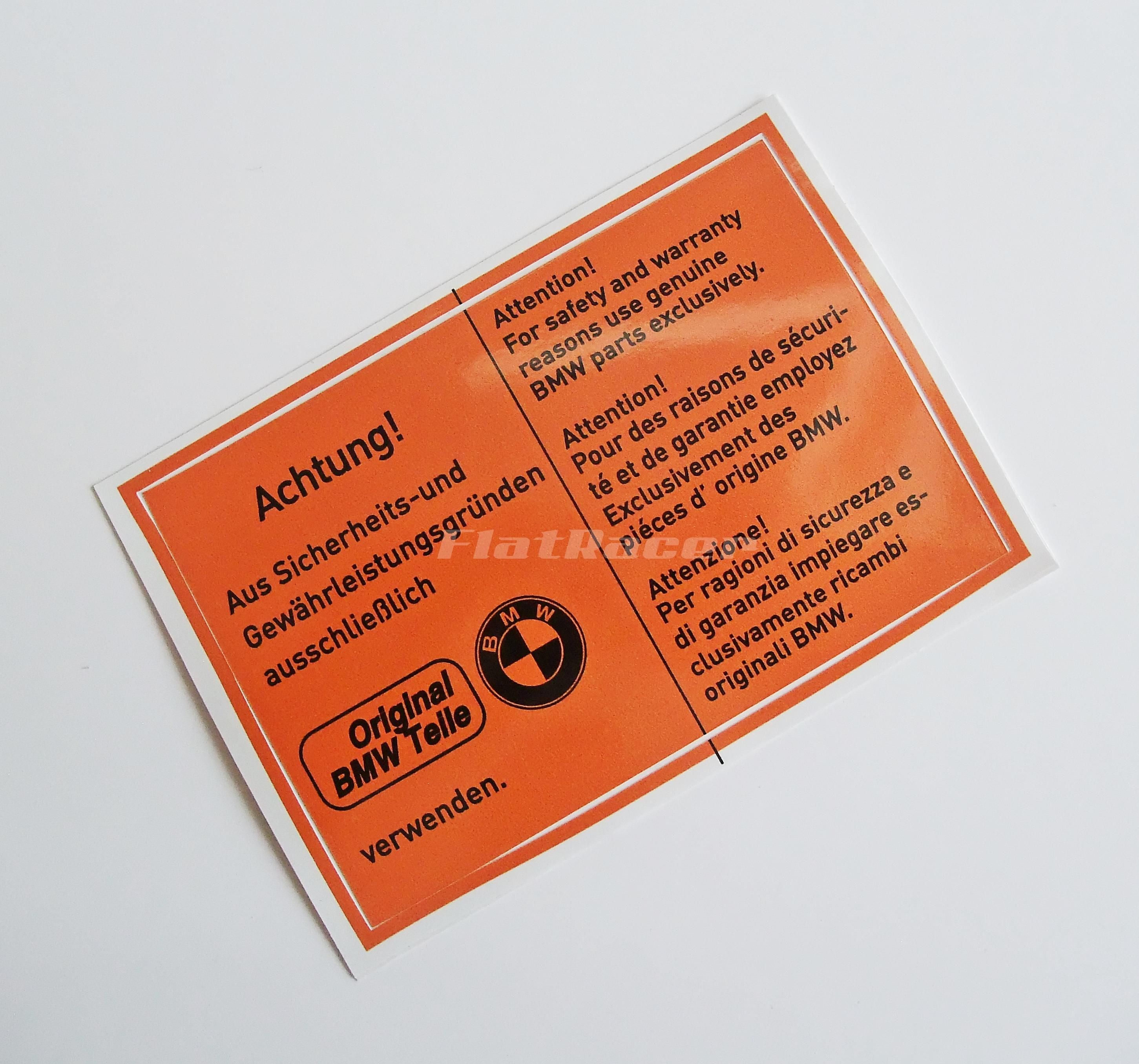 BMW Airhead Boxer Original Teile underseat seat orange sticker - 120 x 80mm