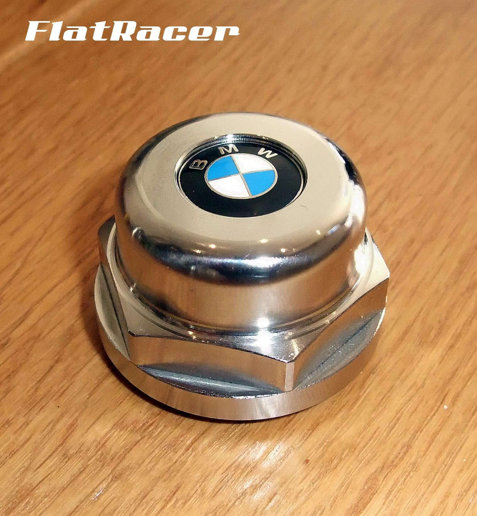 FlatRacer BMW /5, /6, /7 & Monolever s/s steering stem/top yoke top centre nut w/ 16mm BMW enamel badge