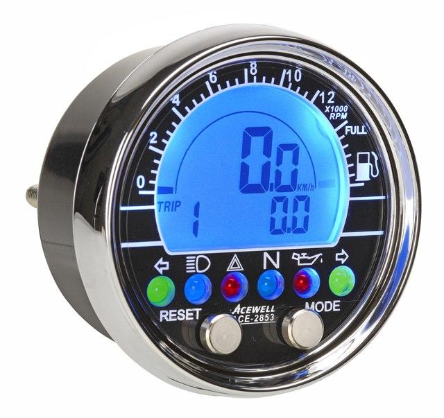 Acewell 73mm dash electronic speedometer / tachometer