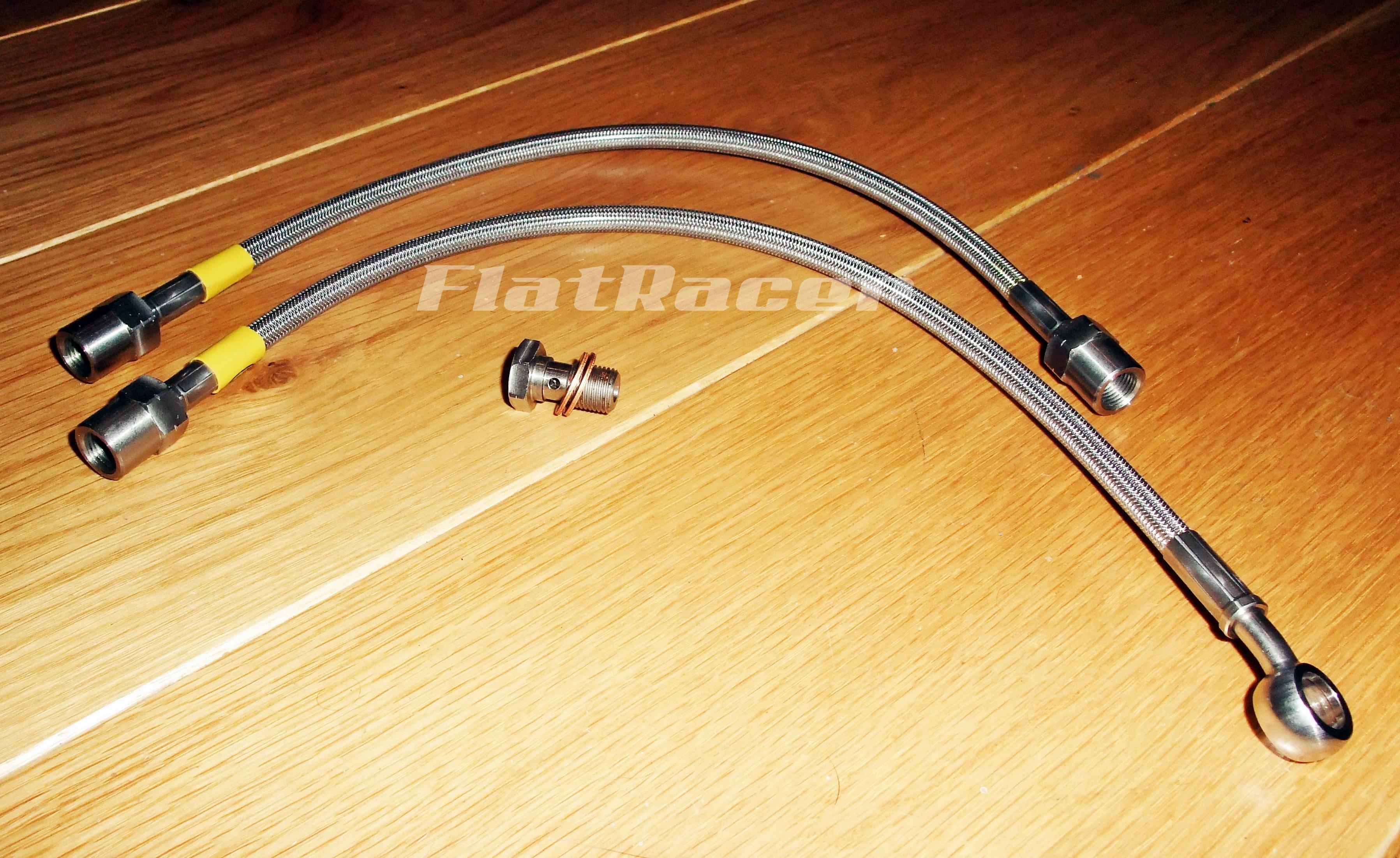 BMW Airhead Boxer Monolever (1985 on) s/s braided brake hose - FRONT - 2 lines