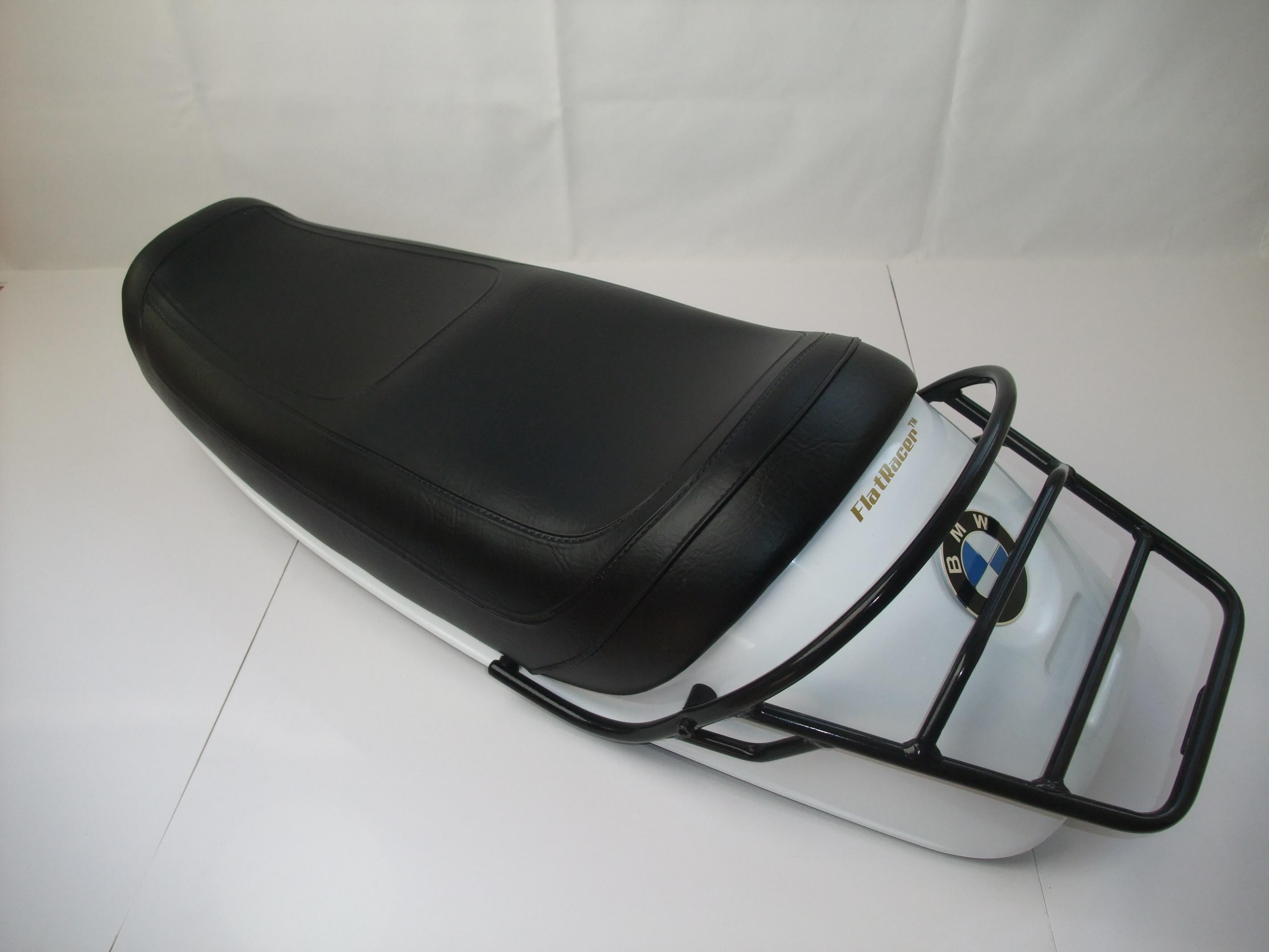 FlatRacer BMW R90S 1974 dual sports seat - early plain black seat cover