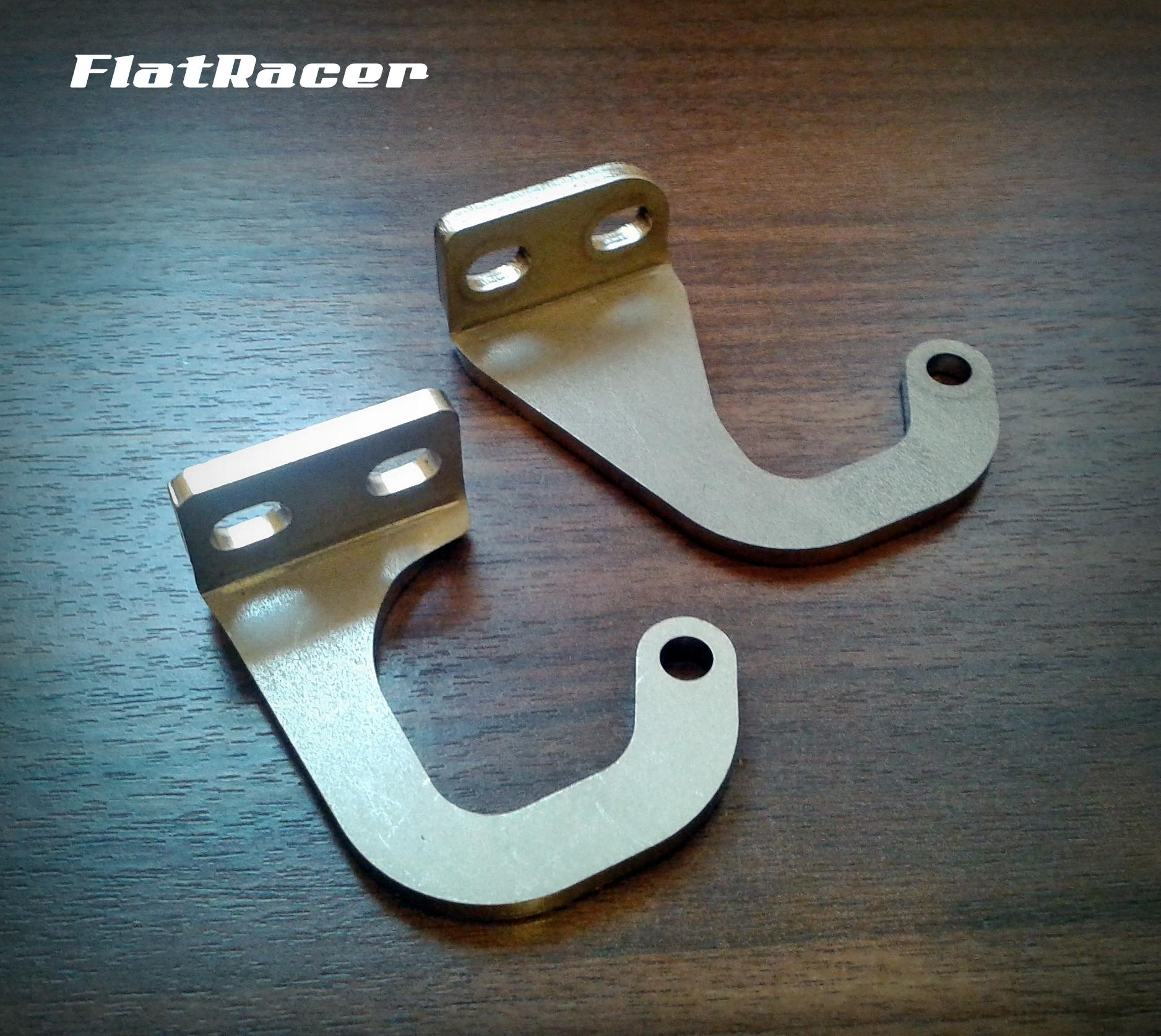 FlatRacer BMW /7 & R90S (1973-1984) stainless steel two hole type seat hinges (pair)