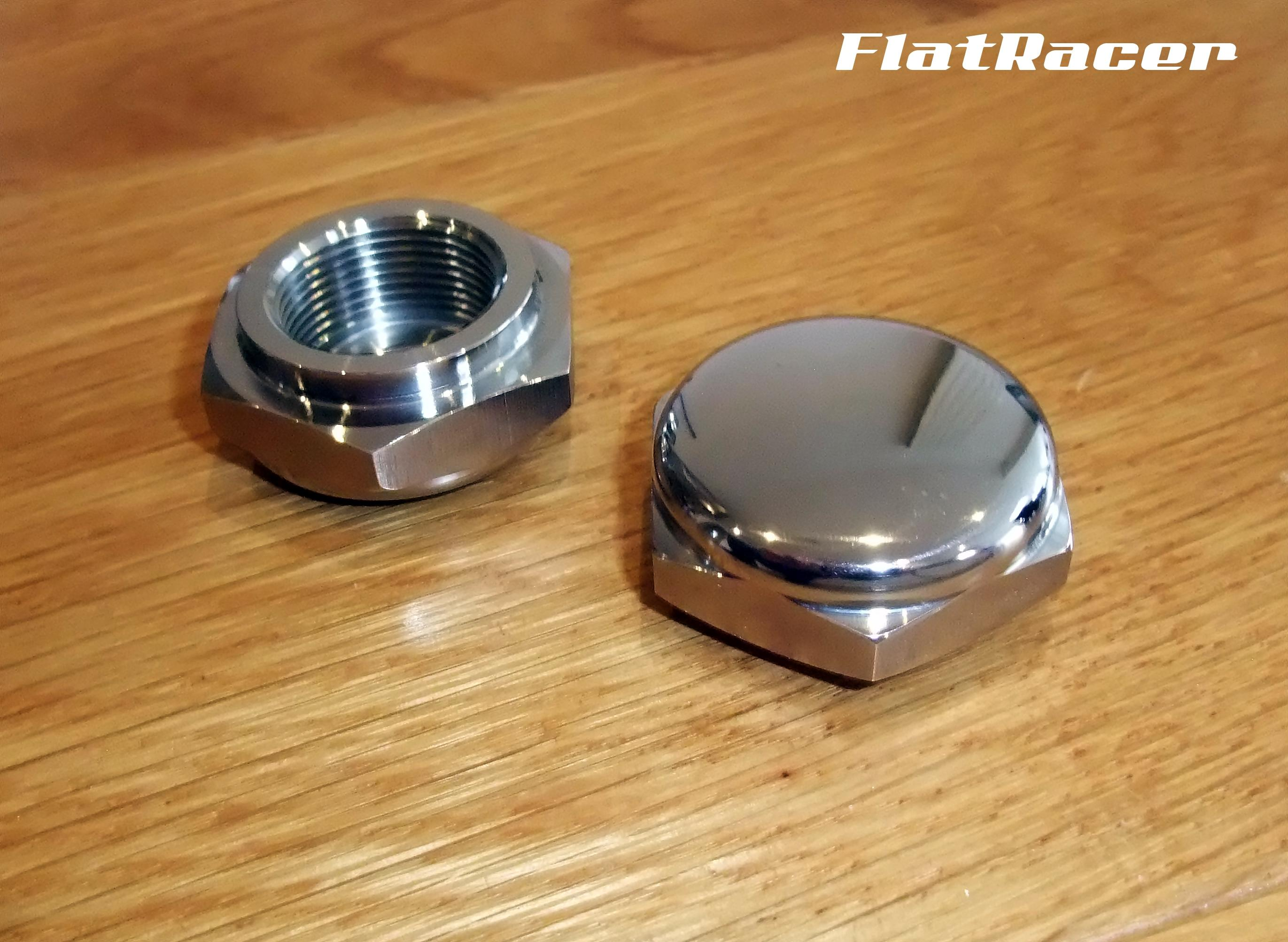 FlatRacer BMW Airhead Boxer R2v Monolever Series (Oct 1985 on) stainless steel top fork nuts (pair)
