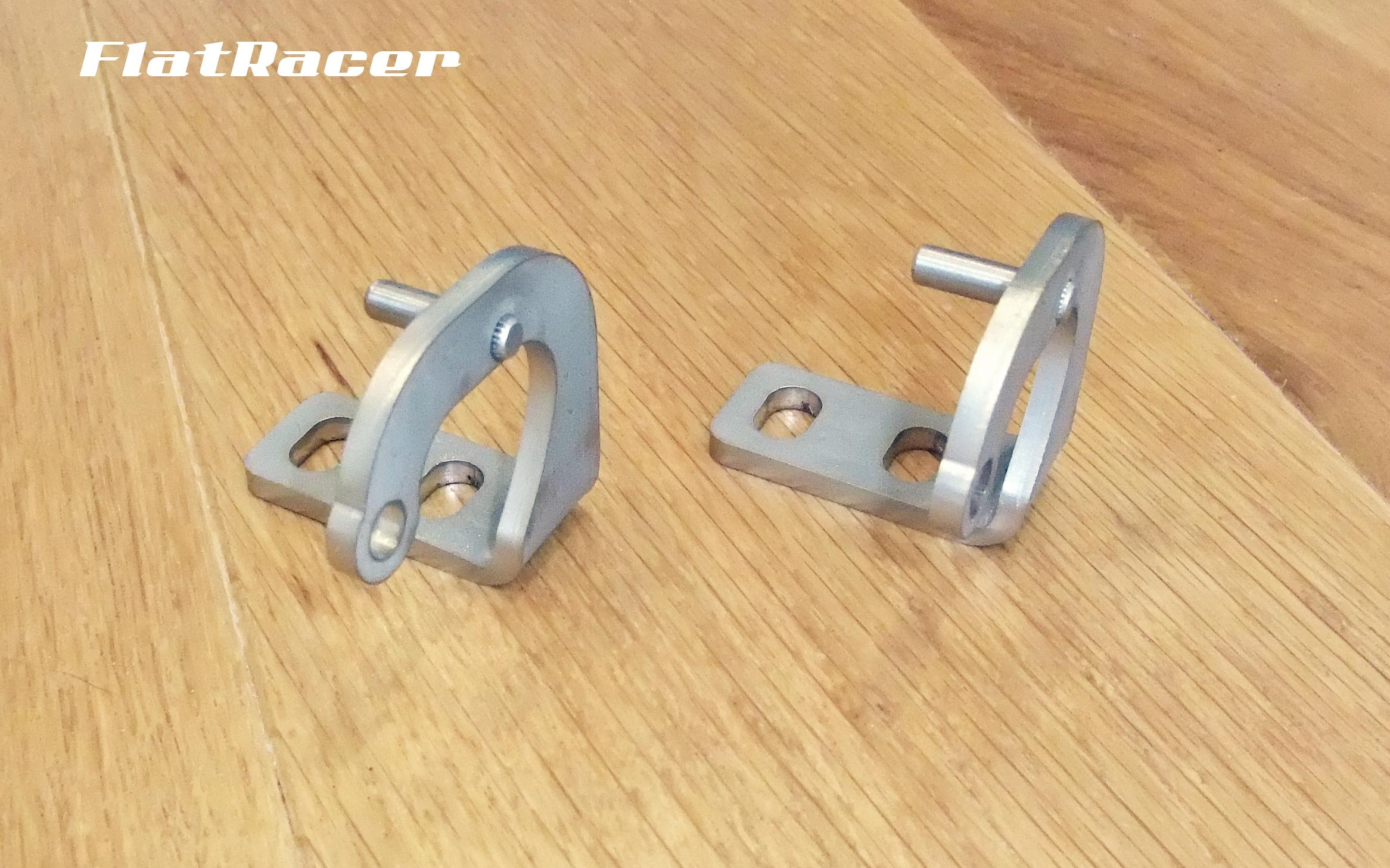 FlatRacer BMW R2v Airhead Boxer R65, R80 & R100 Monolever 1985-1996 steel seat hinges (pair)