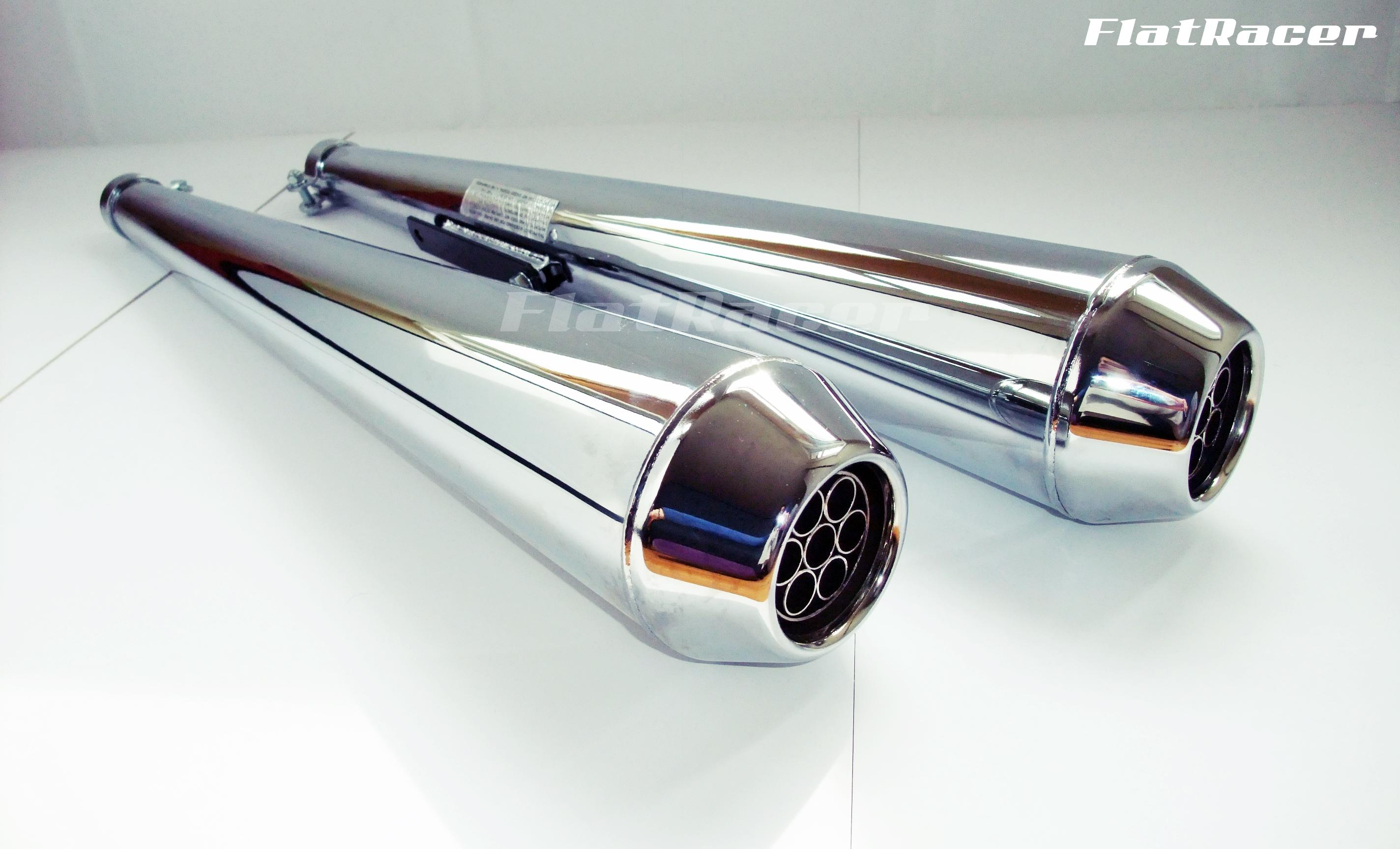 Daytona Cafe Racer chrome long exhaust silencers
