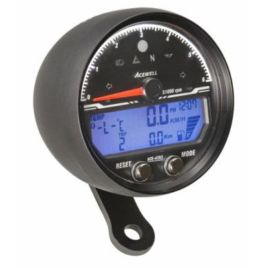 Acewell 85mm billet alloy electronic speedometer / tachometer - BLACK