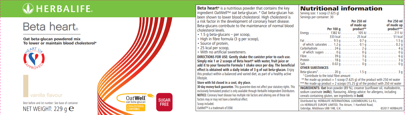 Nutritional Information Herbalife Beta heart Vanilla