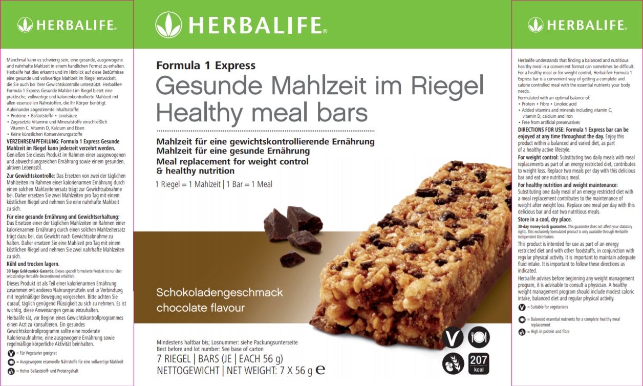 Nutritional Information Herbalife Formula1 Express Bar Chocolate
