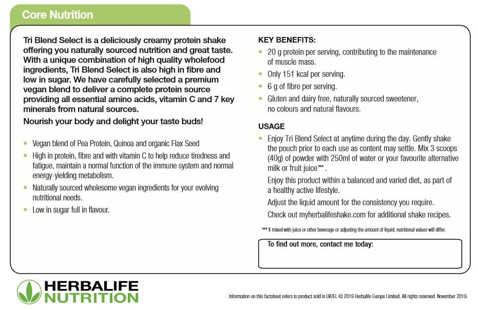 Nutritional Information Herbalife Tri Blend Caramel