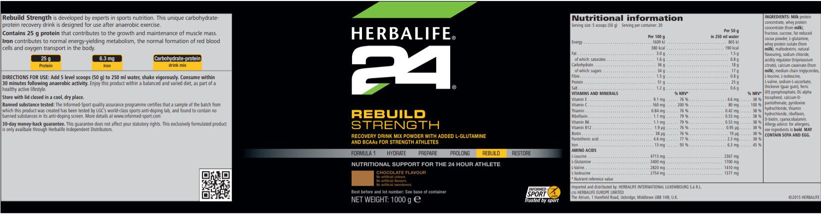 Nutritional Information Herbalife Rebuild Strength Chocolate