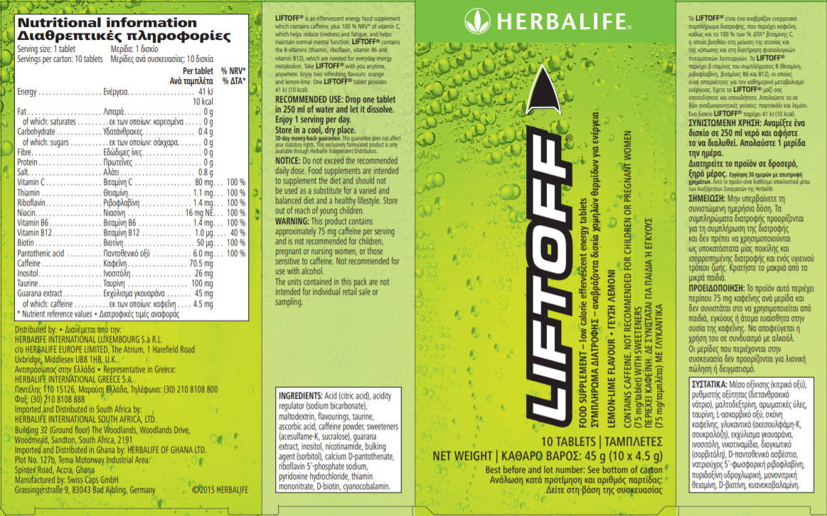 Nutritional Information Lift Off Effervescent Energy Drink Lemon lime