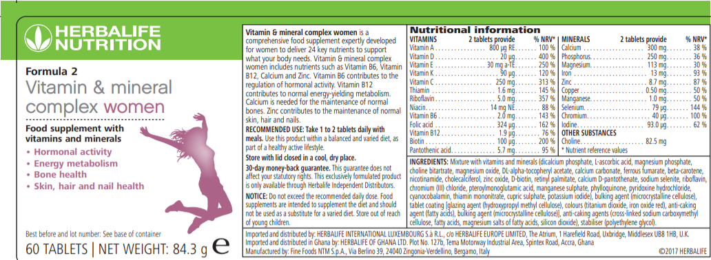 Nutritional Information Herbalife Formula 2 Vitamin & Mineral Complex Women