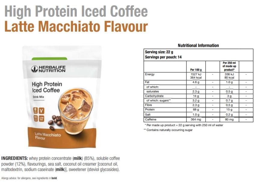 Nutritional Information Herbalife High Protein Iced Coffee