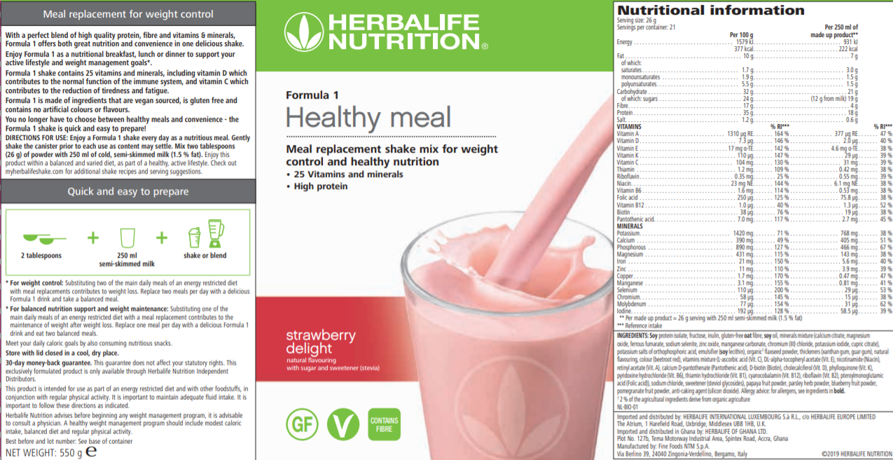Nutritional Information Formula 1 Strawberry Delight
