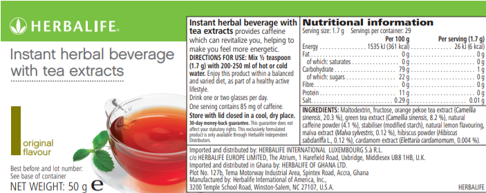 Nutritional Information Instant Herbal Beverage Original 50 g