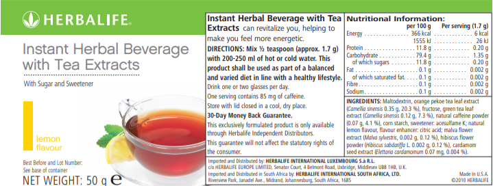 Nutritional Information Herbalife Instant Herbal Beverage Lemon