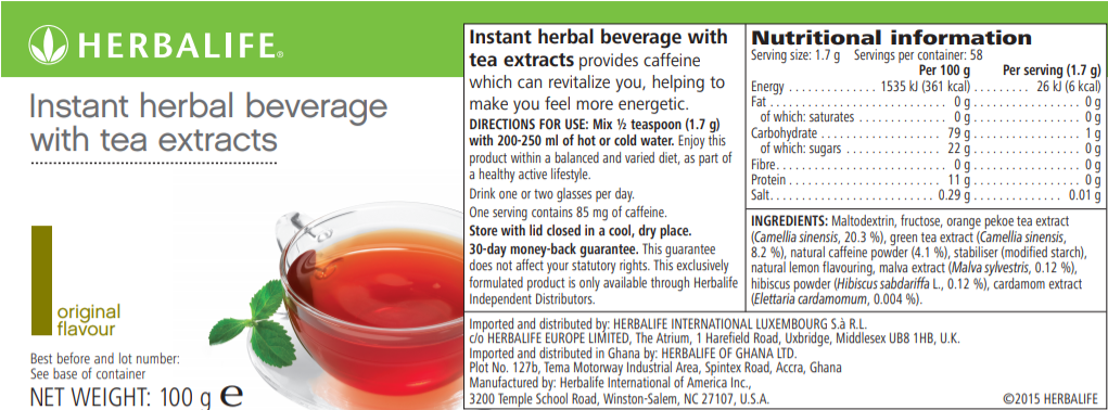 Nutritional Information Herbalife Instant Herbal Beverage Original 100 g