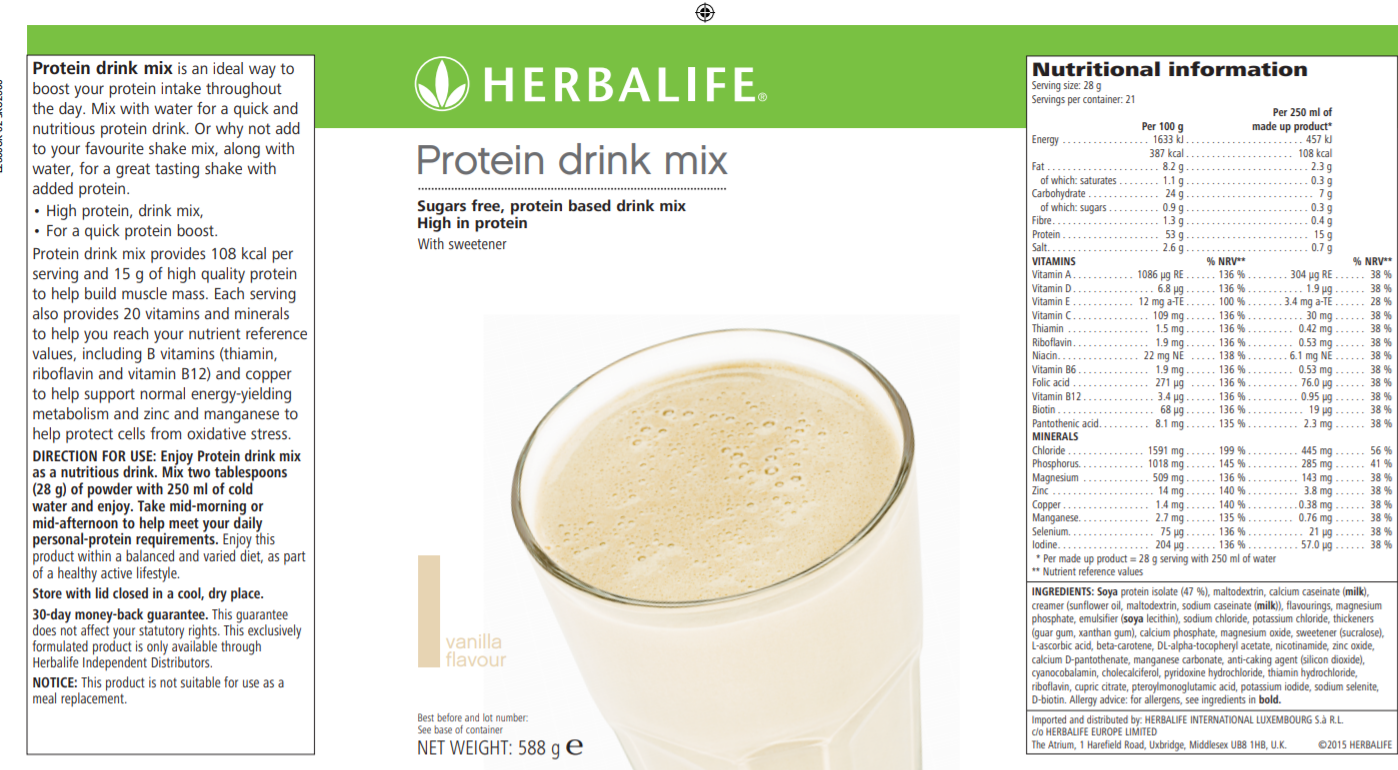 Nutritional info Herbalife Protein drink mix