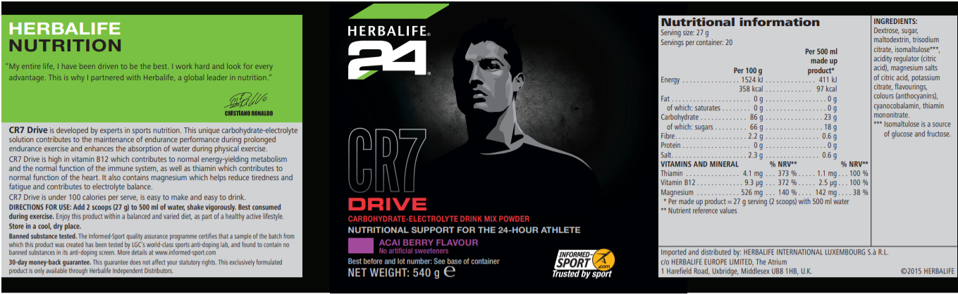 Nutritional Information CR7 Drive Canister Acai Berry Each Canister