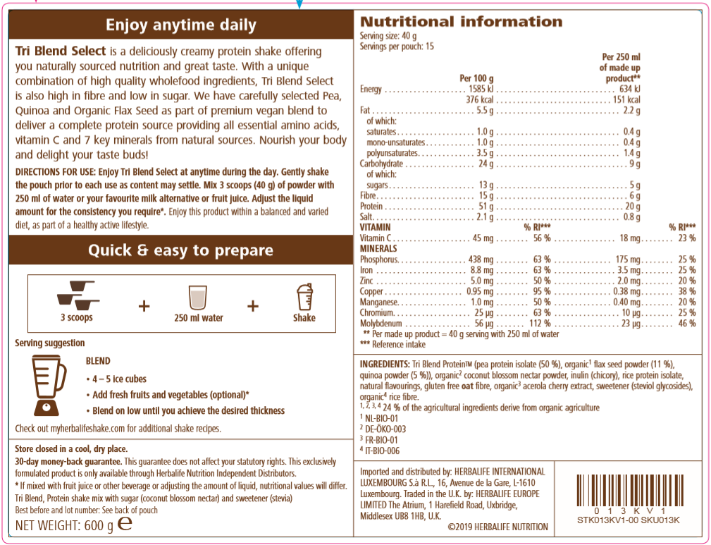 Nutritional Information Tri Blend Select - Protein shake mix Banana