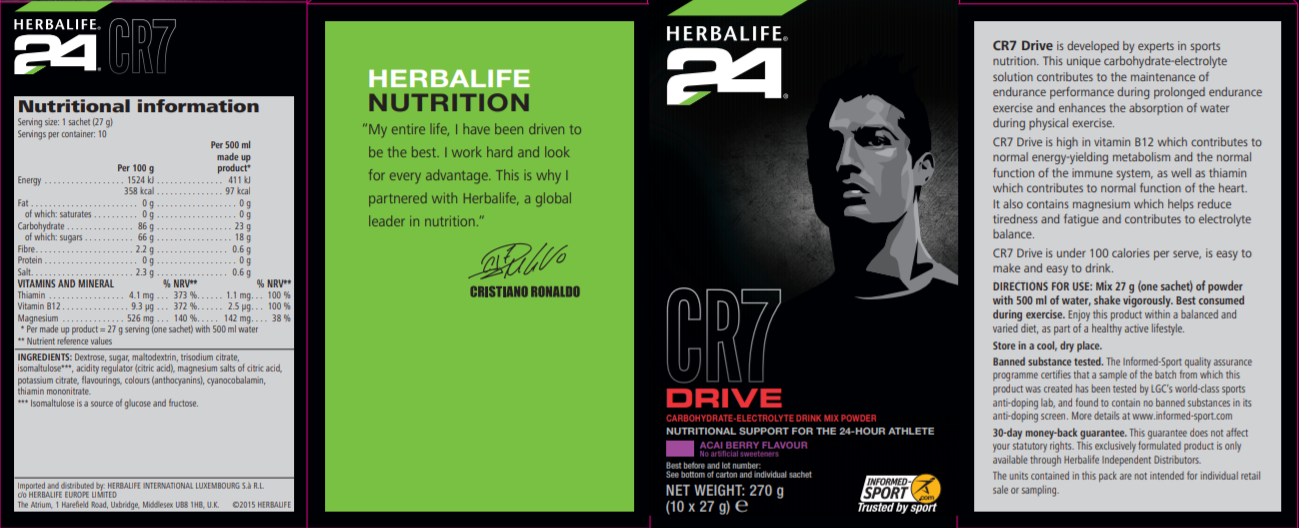 Nutritional Information CR7 Drive Sachets Acai Berry