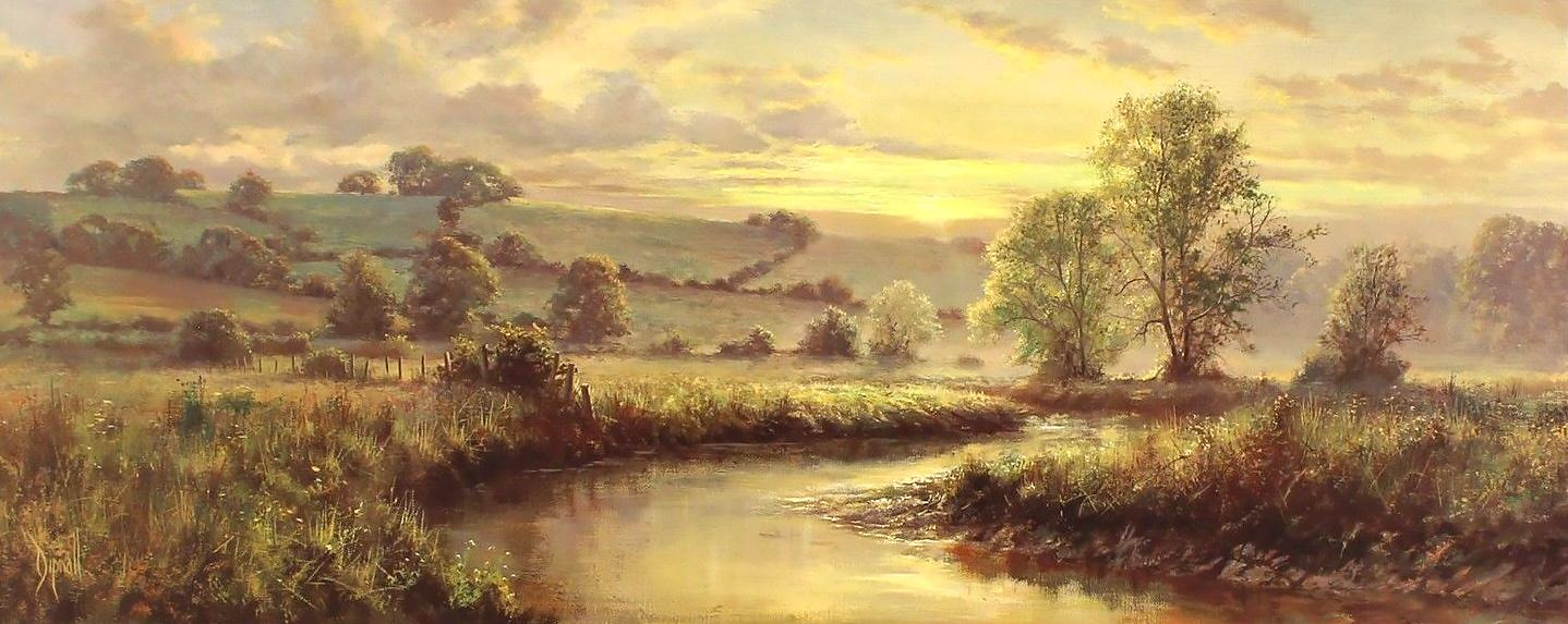 Golden Stream by David Dipnall - landscape art print