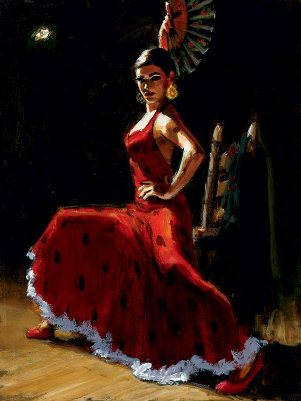Study for Celina with Abanico III by Fabian Perez - canvas LPEZ1134