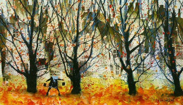 Leaves of Red and Gold by Sue Howells - art print