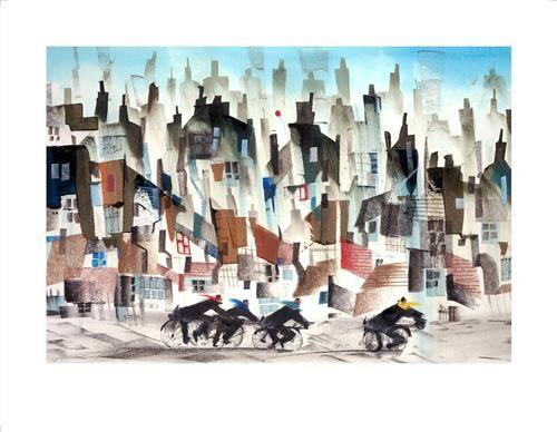 Four Go Cycling by Sue Howells - Limited Edition art print SHE005