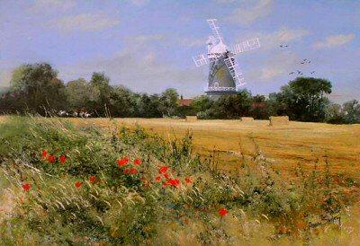 Great Bircham Mill, Norfolk by Robin Smith - landscape art print