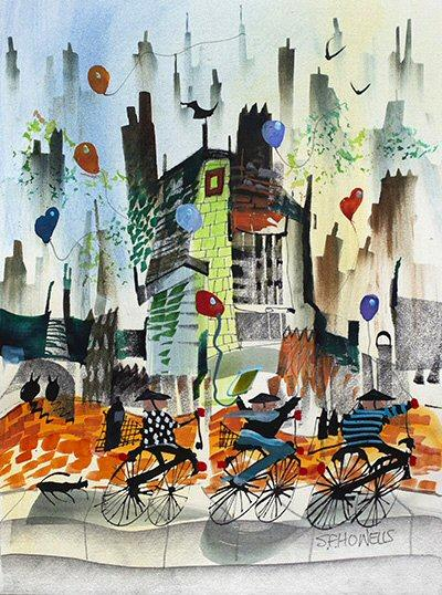 Three Go Cycling by Sue Howells - original painting