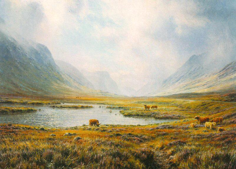 Highland Cattle, Glen Coe by Rex Preston - landscape art print