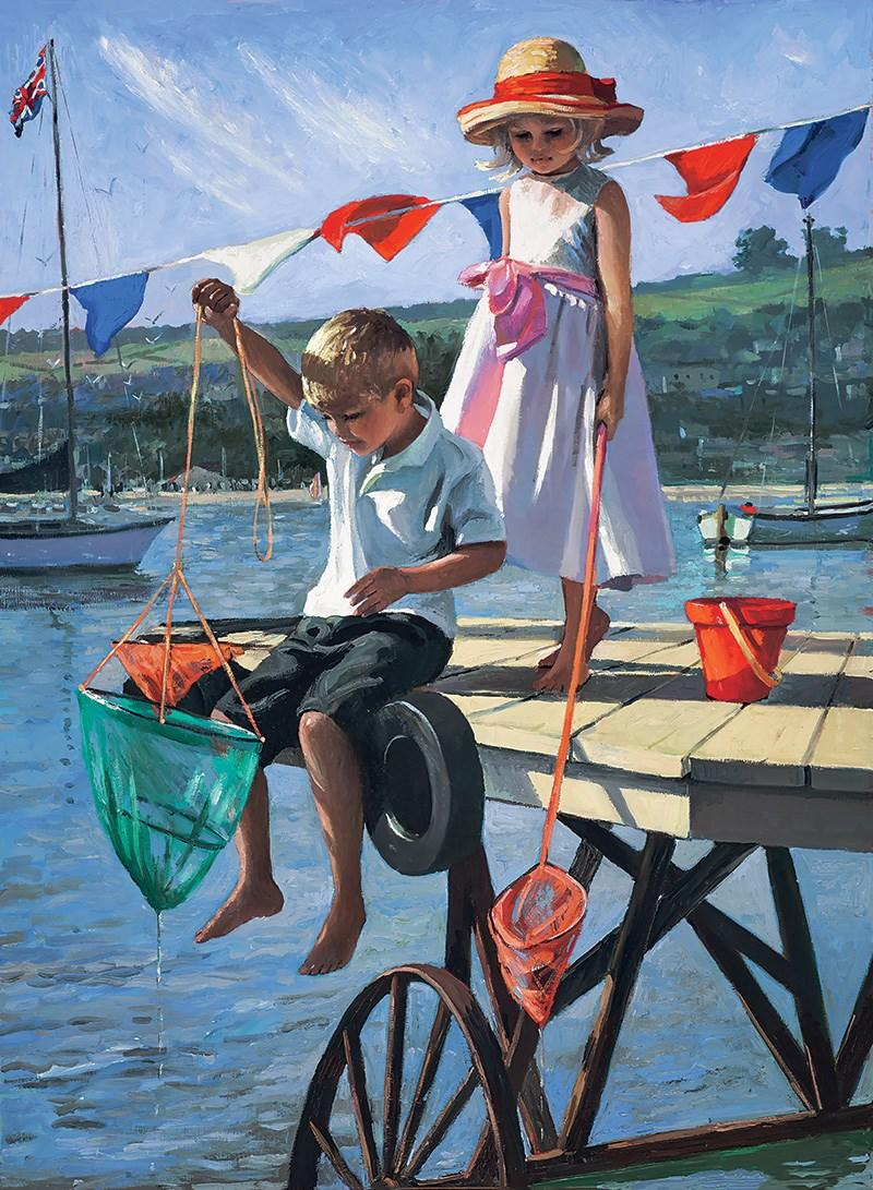 Fishing From the Jetty by Sherree Valentine Daines - canvas ZDAI239