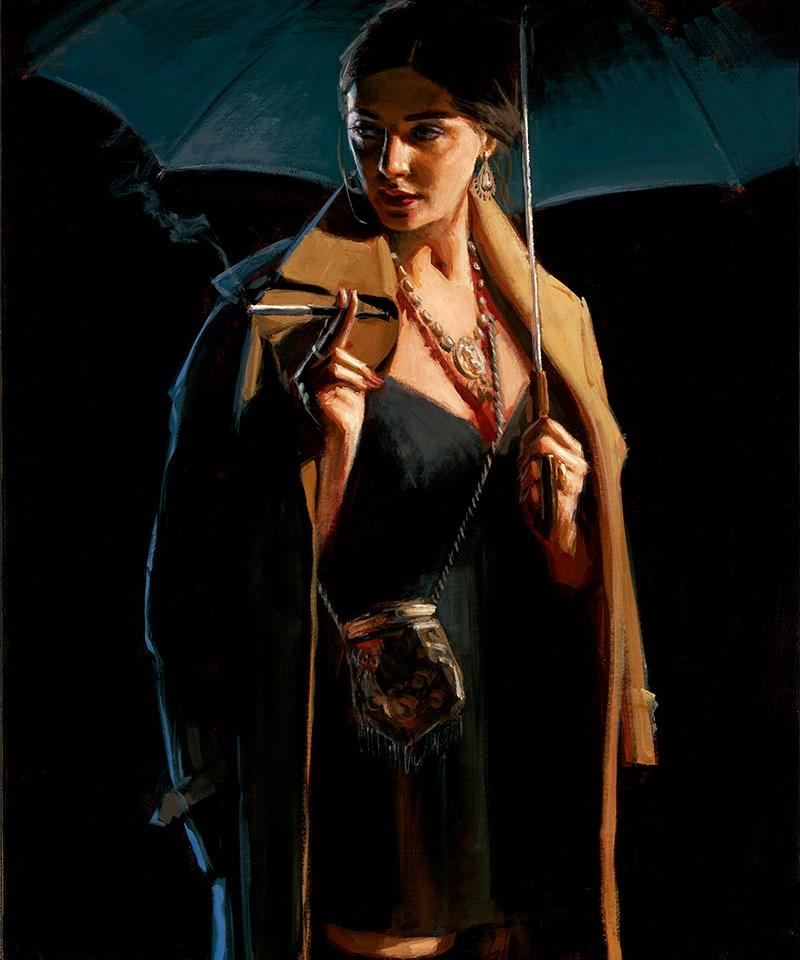 November Rain - Lucy by Fabian Perez - canvas art print LPEZ1179