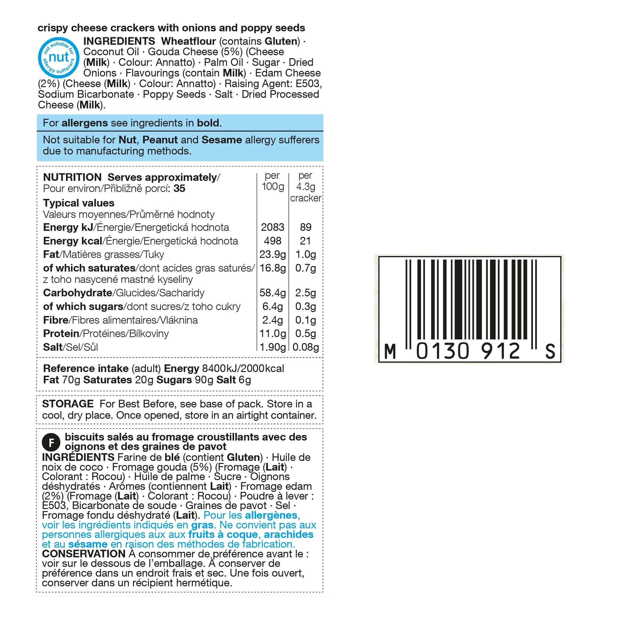 Cheese Crackers 150g Label