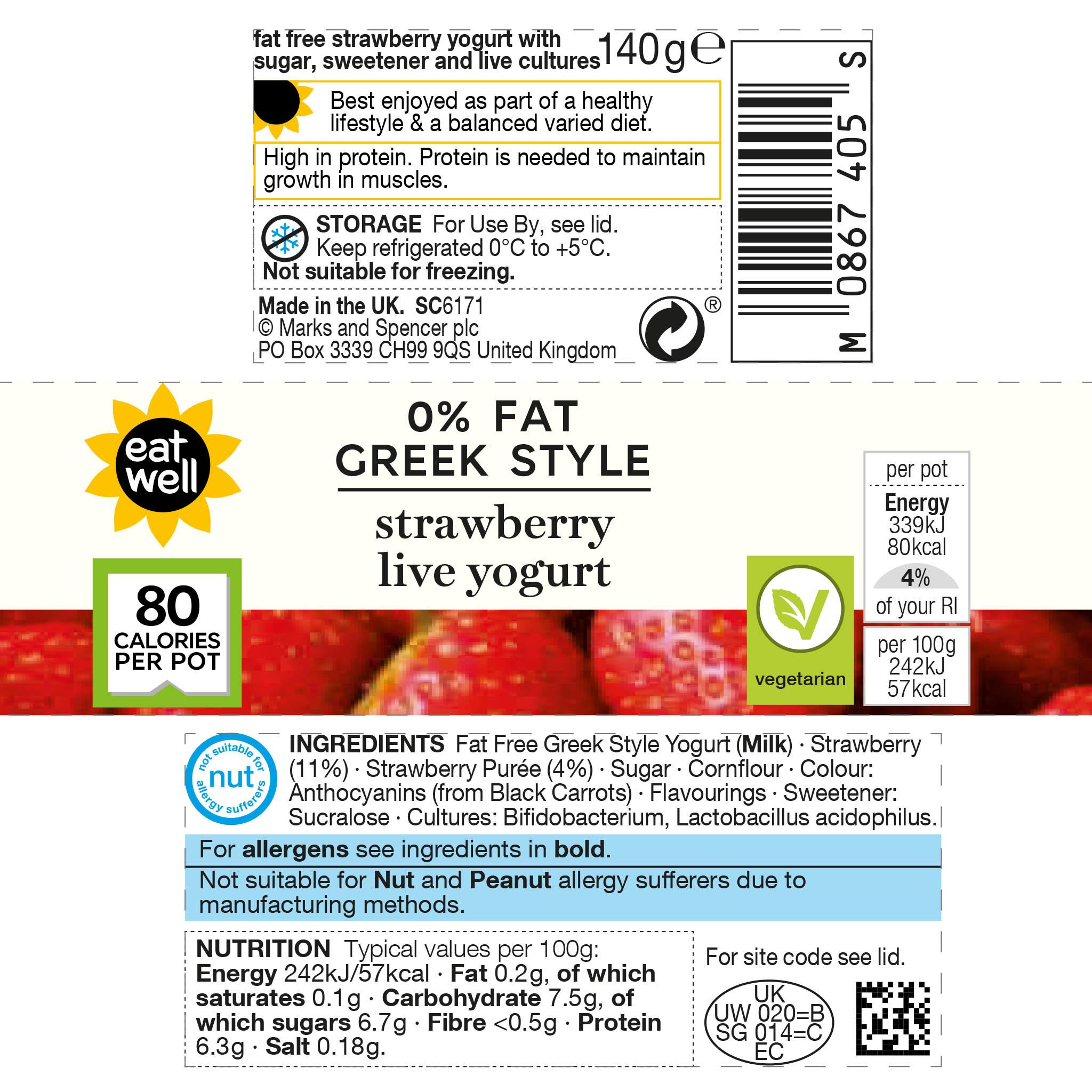 0% Fat Greek Style Strawberry Yogurt 140g Label