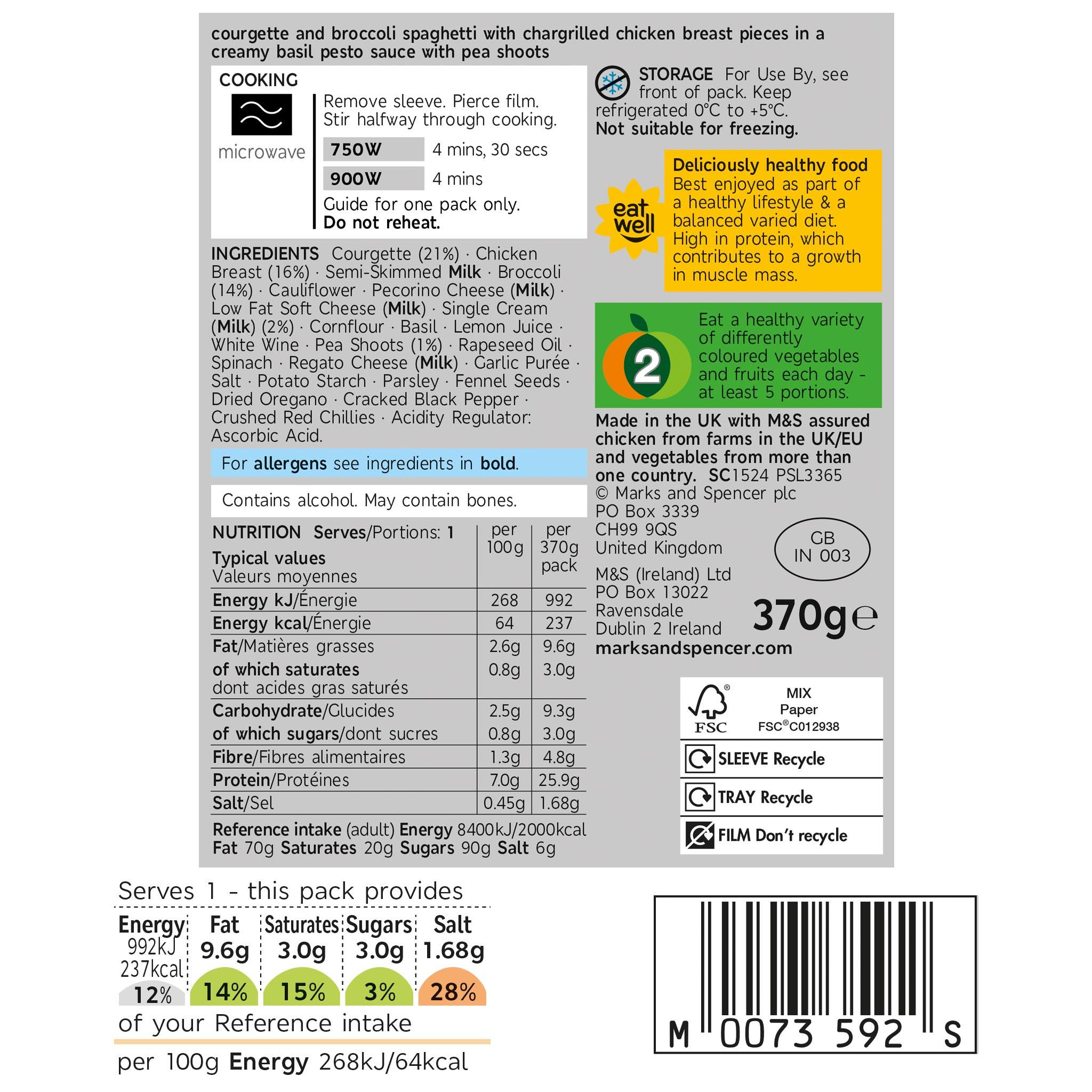 Eat Well Chargrilled Chicken Courgetti 380g Label