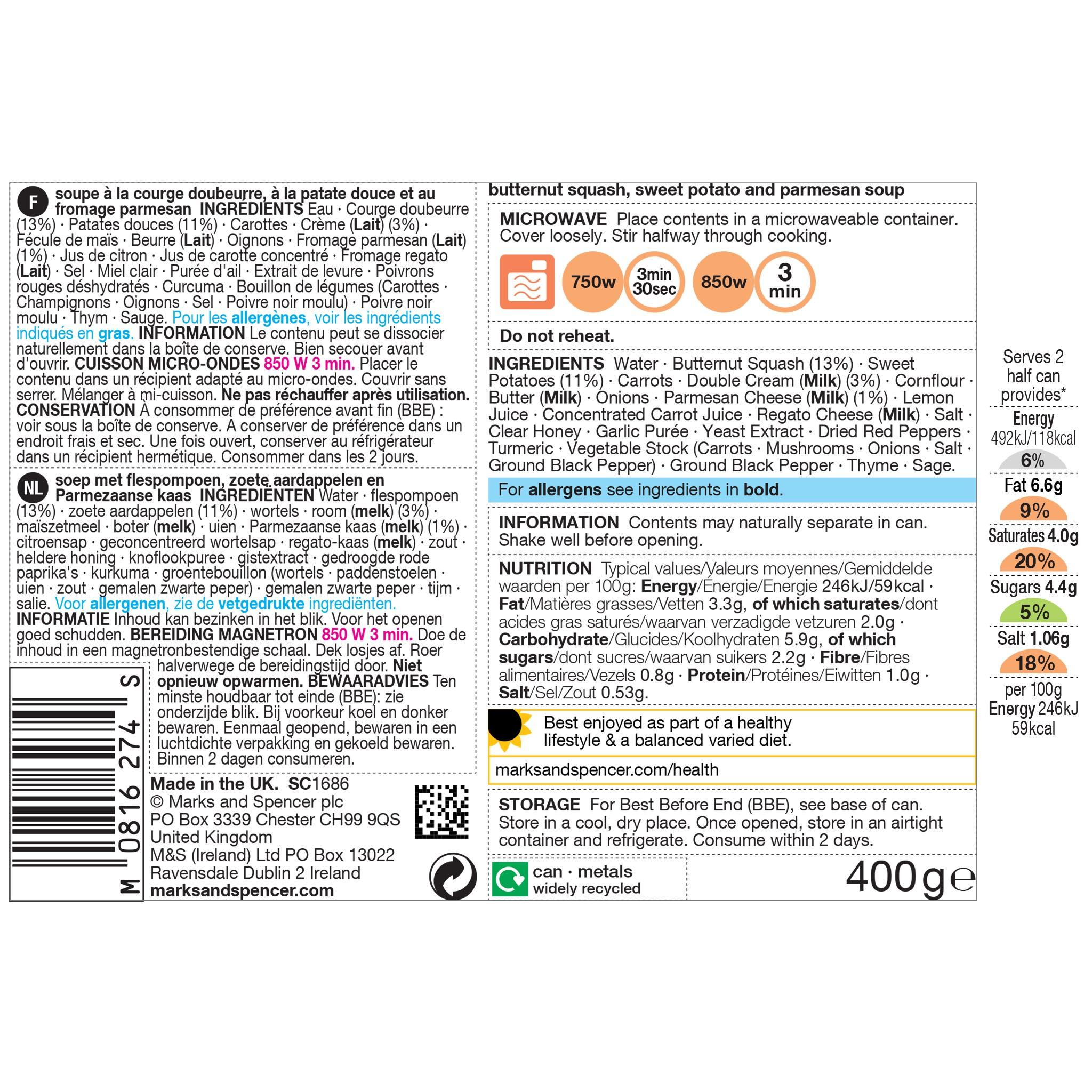 Butternut Squash & Sweet Potato Soup 400g Label