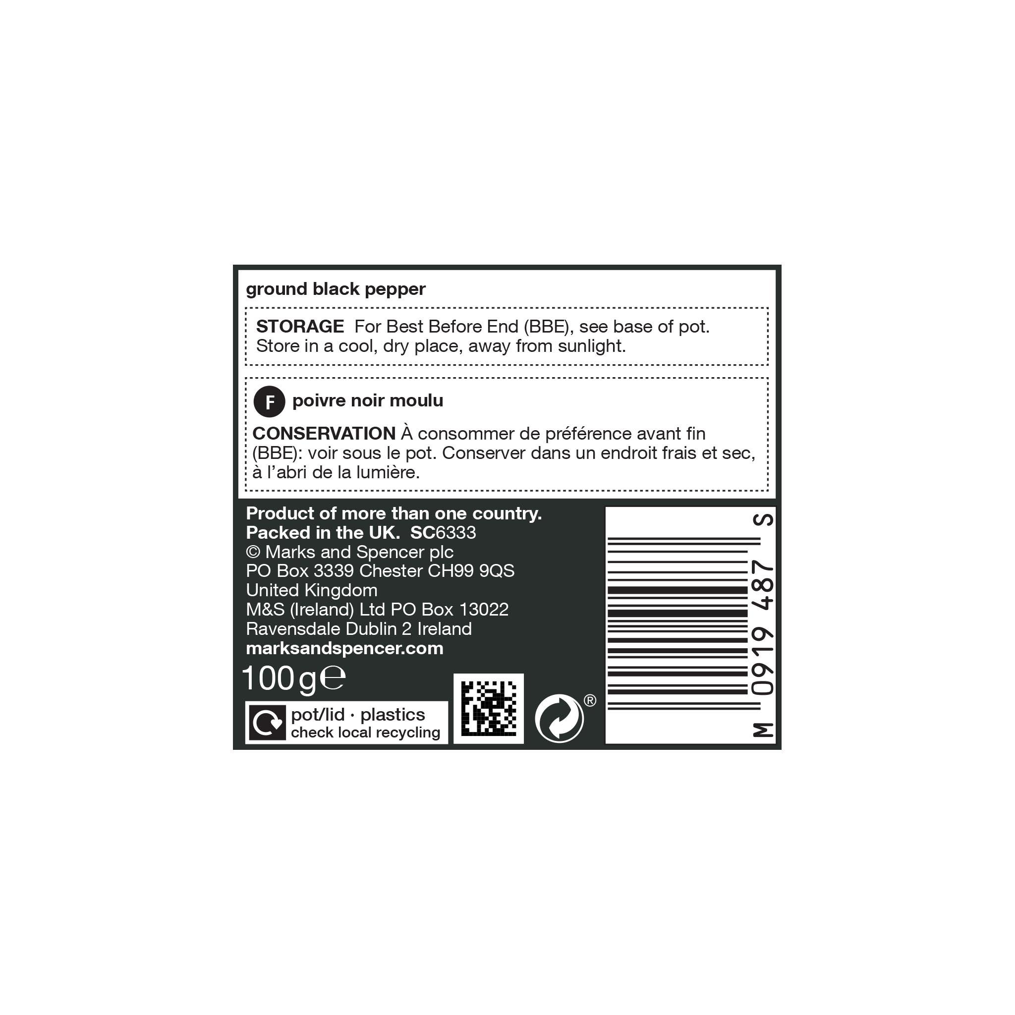 Ground Black Pepper 100g Label